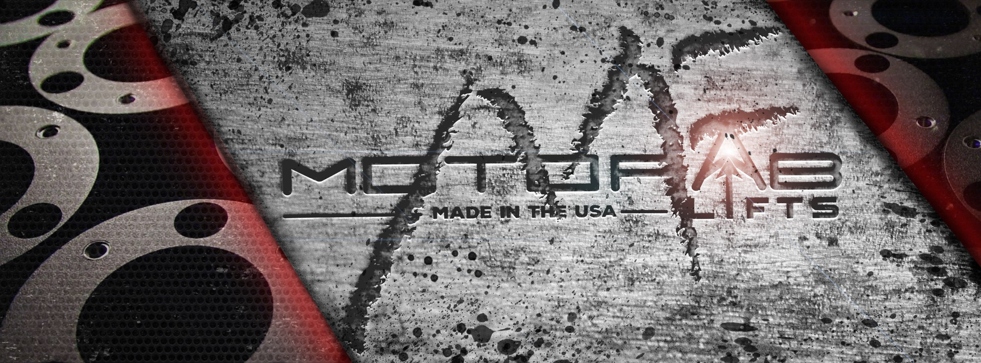 Create an grunge style facebook cover for MotoFab Lifts