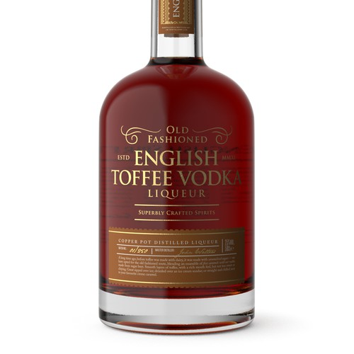 Elegant Label Design for English Toffee Vodka Liqueur