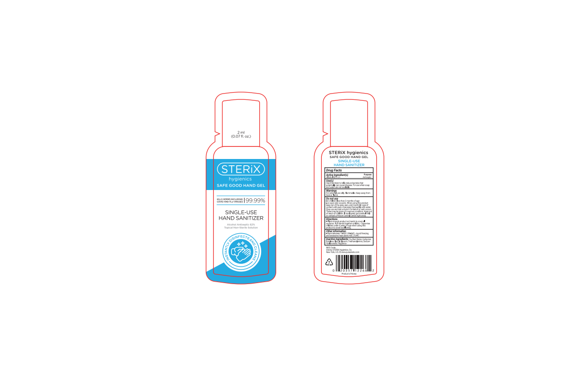 Single-use hand sanitizer and box for them.