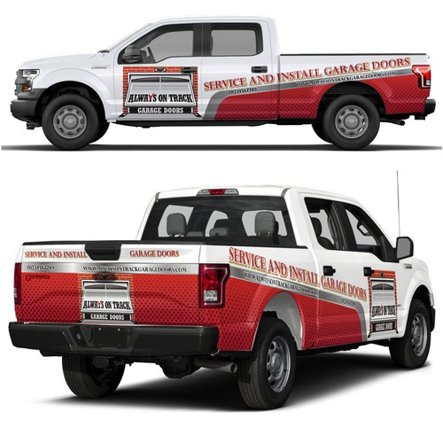 "Informational and brand recongnizable design for wraps and advertising. Ford F-150. ""Repair and Install Garage Doors"" ""c"