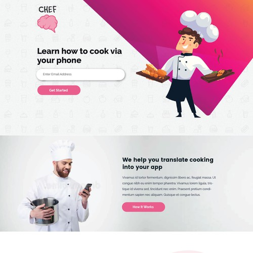 Cooking iPhone app website design