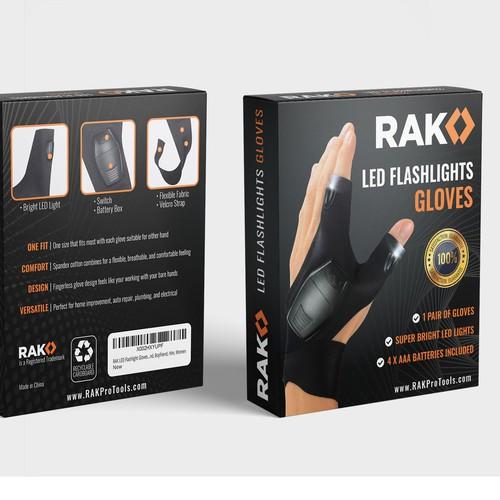LED flashlight gloves packaging