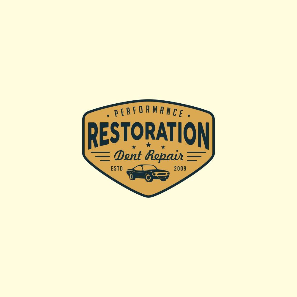 Simple old school paintless dent repair logo