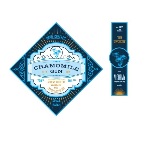 Flat version of label for a Chamomile gin