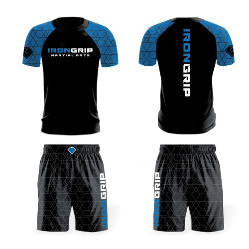 design for a ranked BJJ Rash guard with matching fight shorts