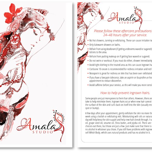 Create an aftercare card for Amala Studio