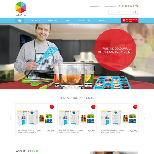 Web Page Design for kitchenware