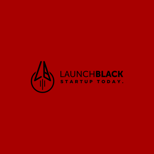 Lineart logo for startup education company: Launch Black