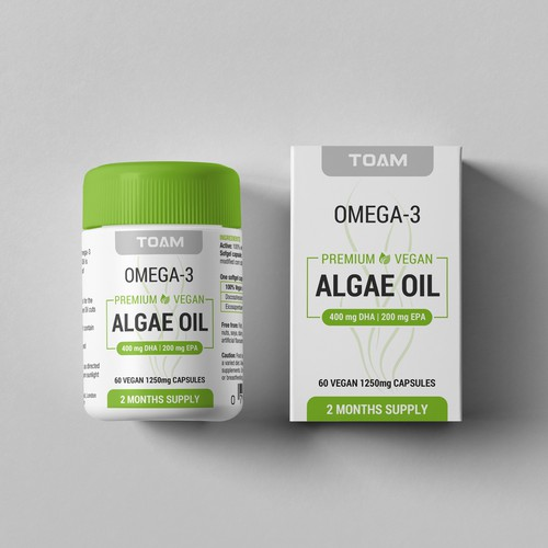 Algae Oil Label and Box
