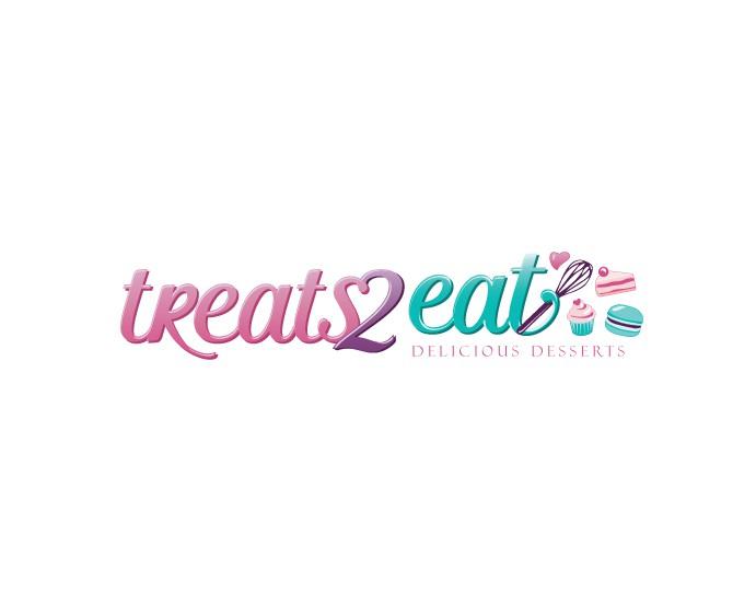 Create a mouthwatering logo that emulates Treats2eat delicious desserts