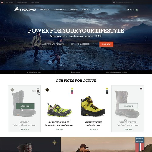 Website Design for Viking Footwear company