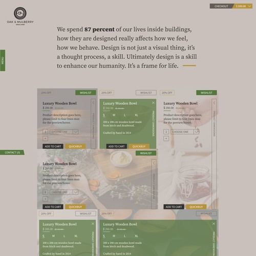 Oak & Mulberry Landing Page Design