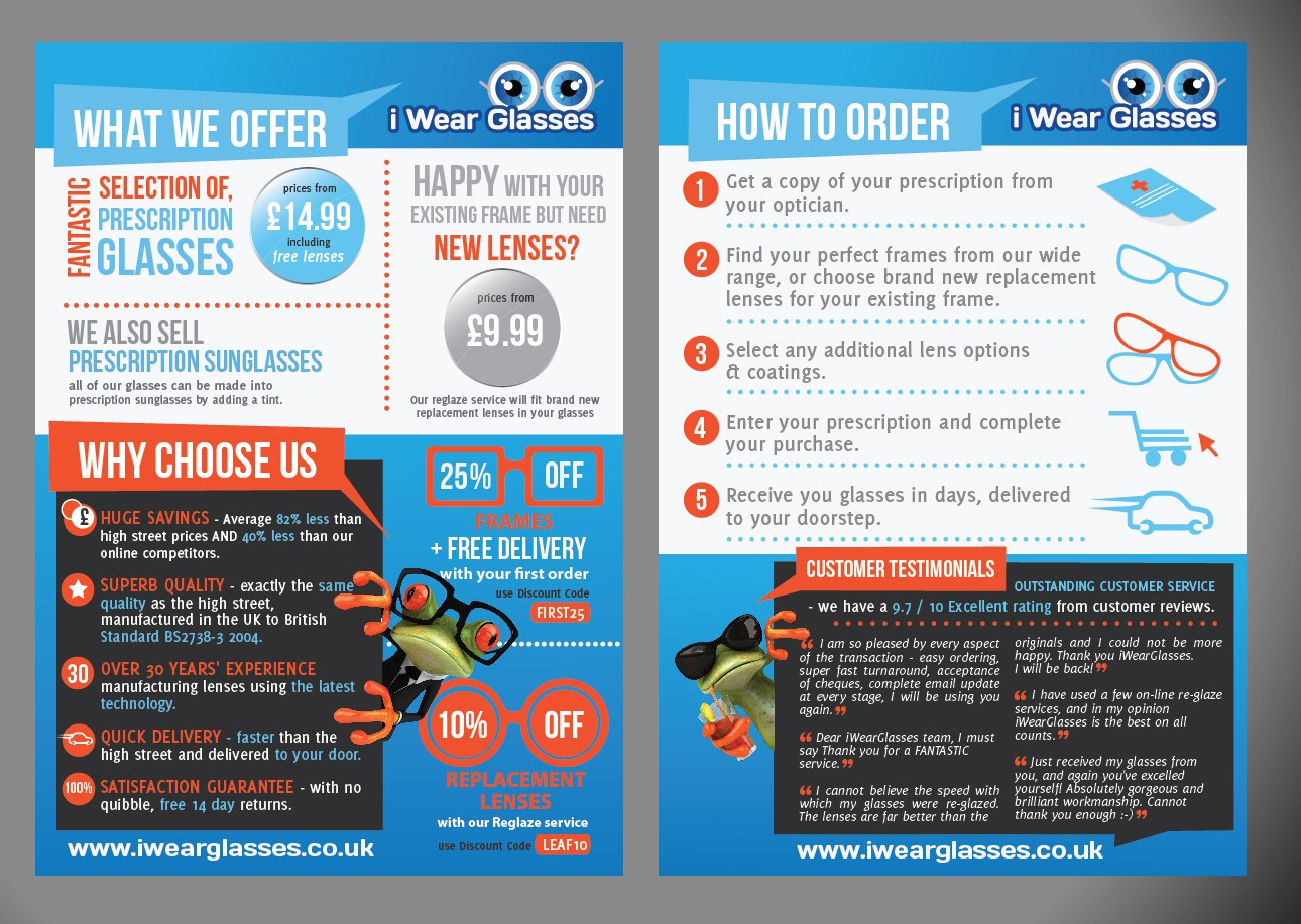 Help iWearGlasses.co.uk with a new postcard or flyer