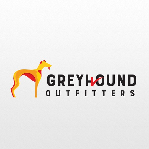 abstract Grey Hound illustrated logo