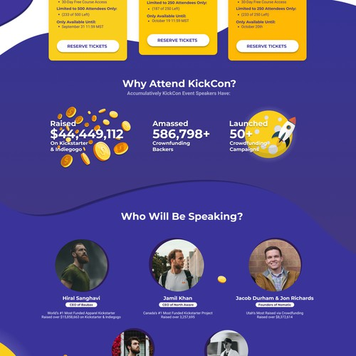 KickCon Convention Landing Page