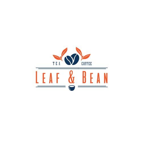 leaf & bean logo concept