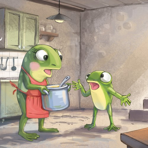 "Illustration for the book ""Freddy the Frugal Frog"""