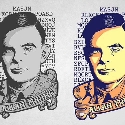 Create a bold design illustrating the heroic legacy of pioneer of computer science, Alan Turing.