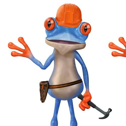Blue Frog Mascot