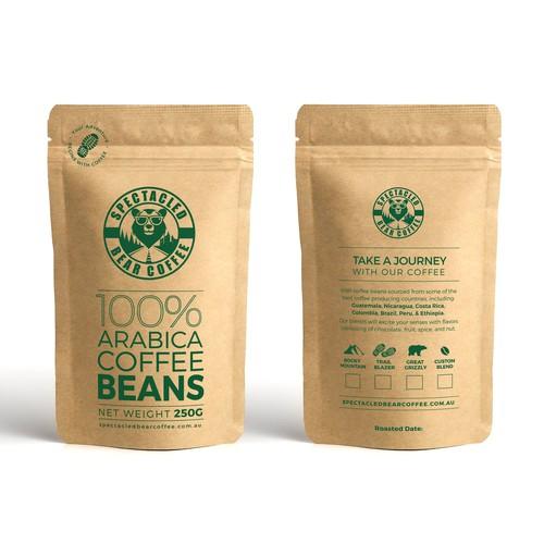 Coffee Bean Kraft pouch for an Australian Coffee Bean company.