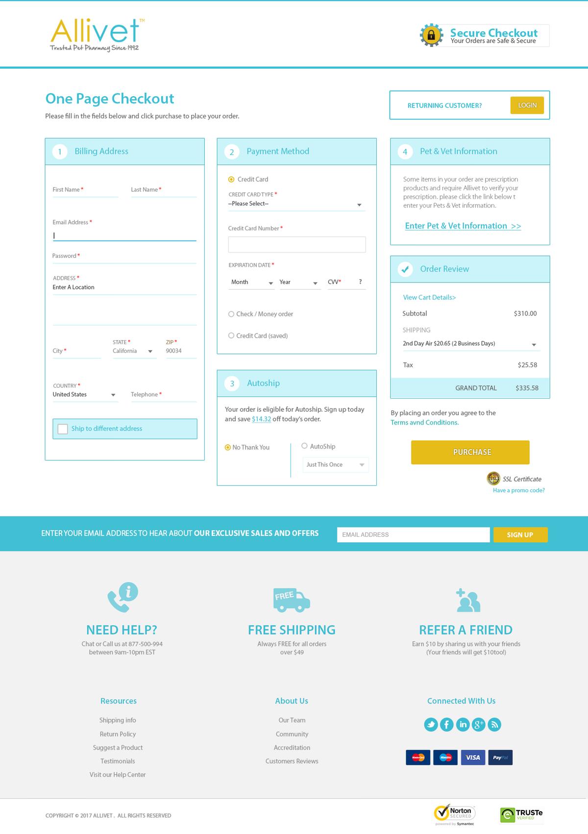 Allivet One Page Checkout Design