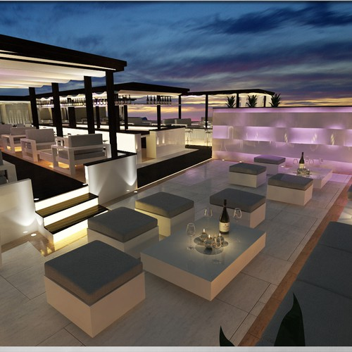 3d realistic interior designs for a rooftop terrace restaurant/lounge