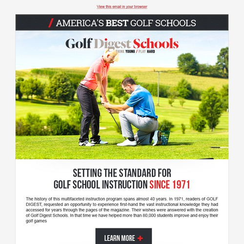 Email Design - Golf Digest School Email tempalte