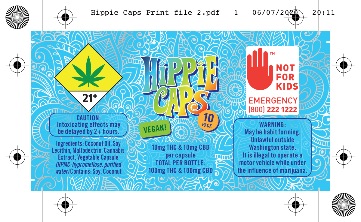 "Label for cannabis product called ""Hippie Caps"""