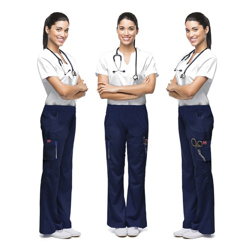 Navy blue scrub trousers for our female health care professionals