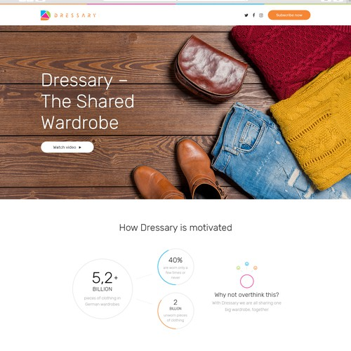 Clean design for a shared wardrobe website