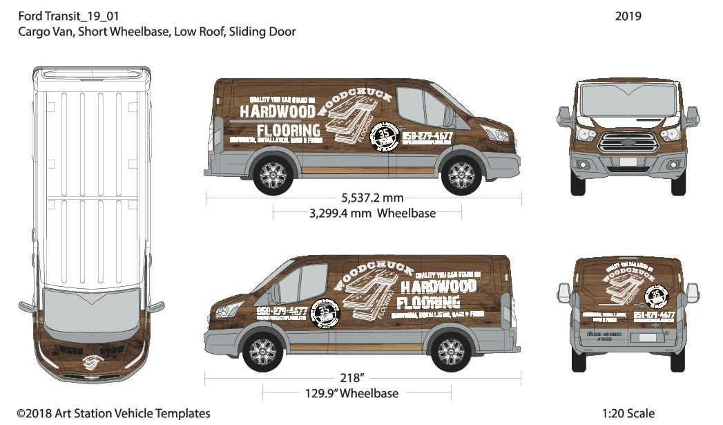 Hardwood Flooring Van Wrap! celebrating 35 years in business