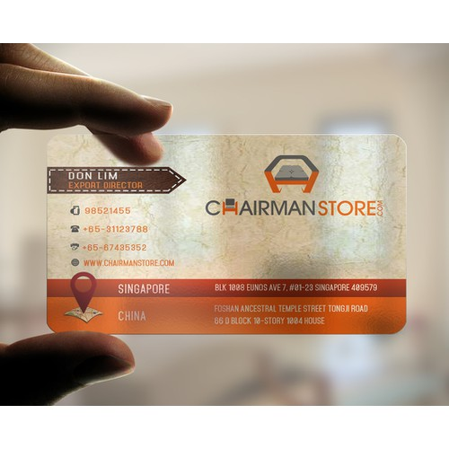 Create Best Online B 2 B Furniture Chairman Store  Business Card