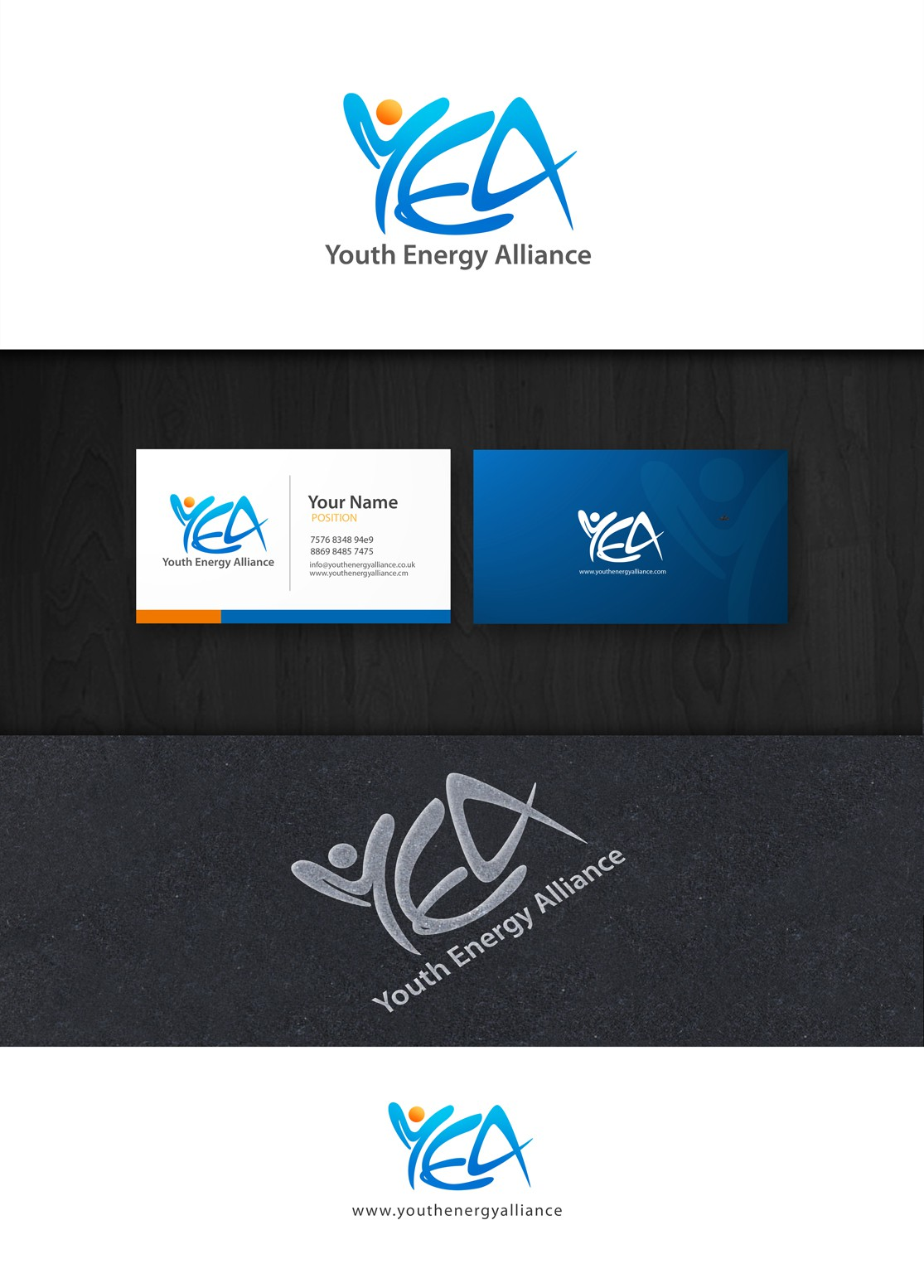 logo and business card for Youth Energy Alliance