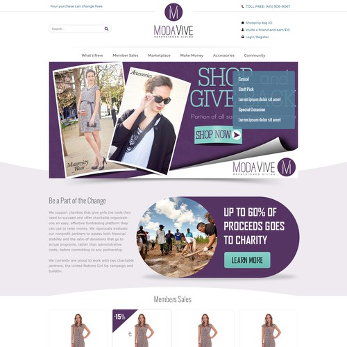 Top notch designer needed to update an ecommerce fashion site that gives back to charity