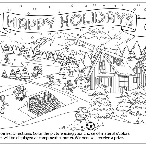 Soccer Camp Holiday Card - Coloring Contest