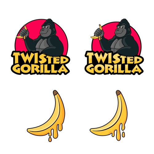 Gorilla mascot with a separate banana element