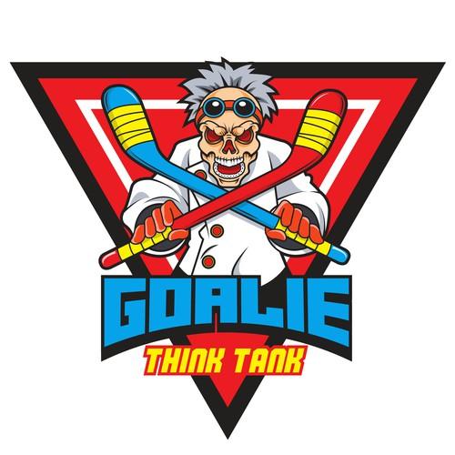 Retro, punky logo for private ice hockey goalie training