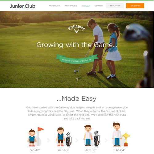 Junior Golf Club website design