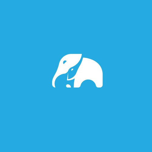 Negative space elephant logo