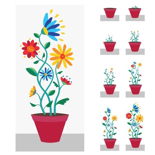 Gif design for flower shop