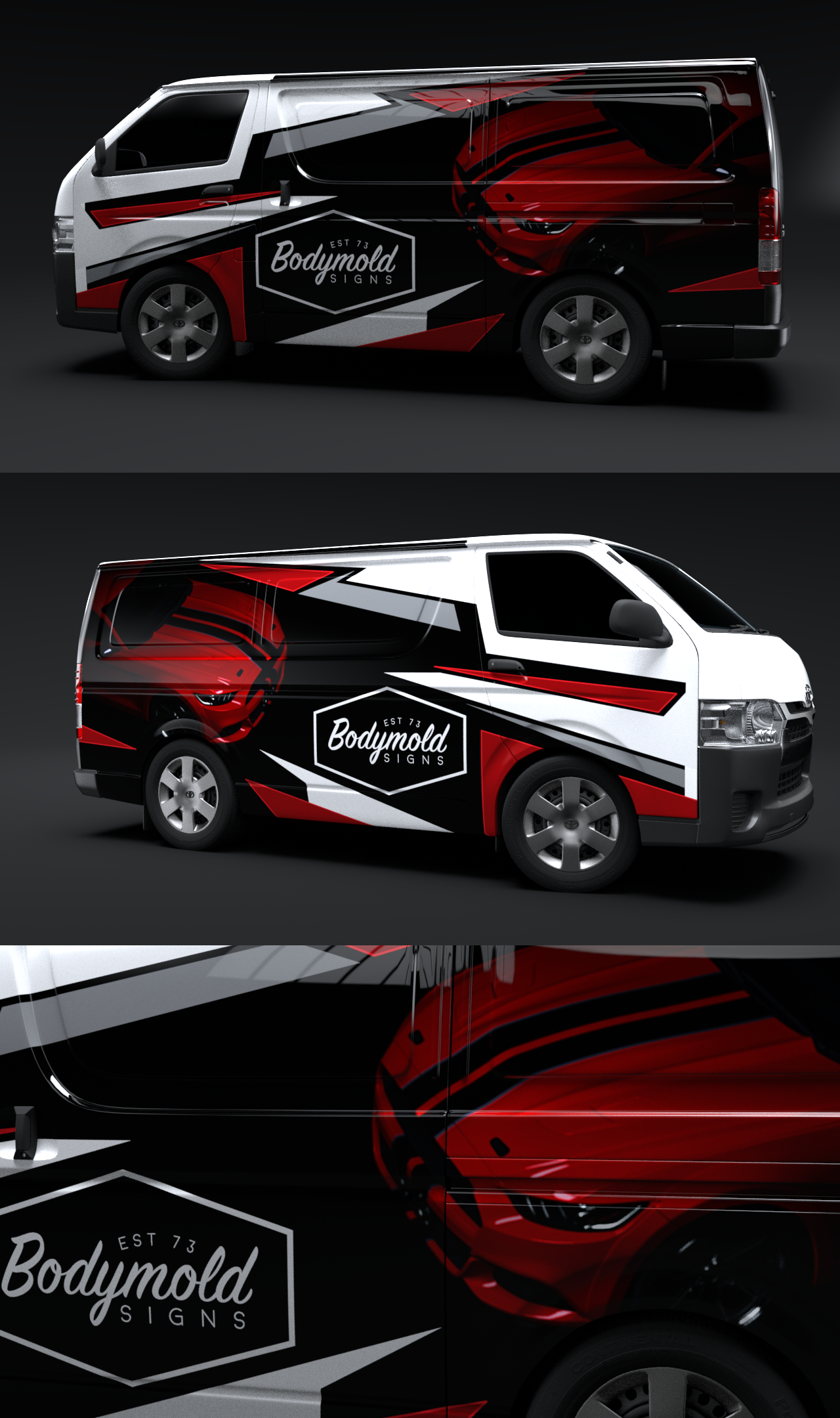 Toyota Hiace Van Wrap - Car Signage and Detailing - Mustang Inspired