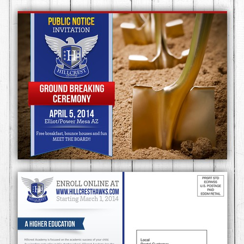 Design Ground Breaking Ceremony Invitation Postcard for new school site