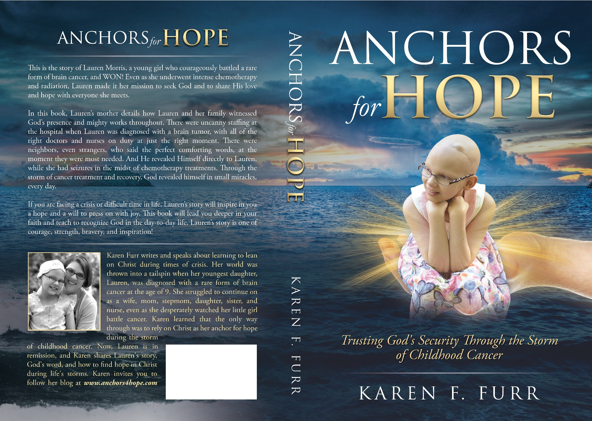 Create a cover design for a book about a young girl's courageous journey through childhood cancer