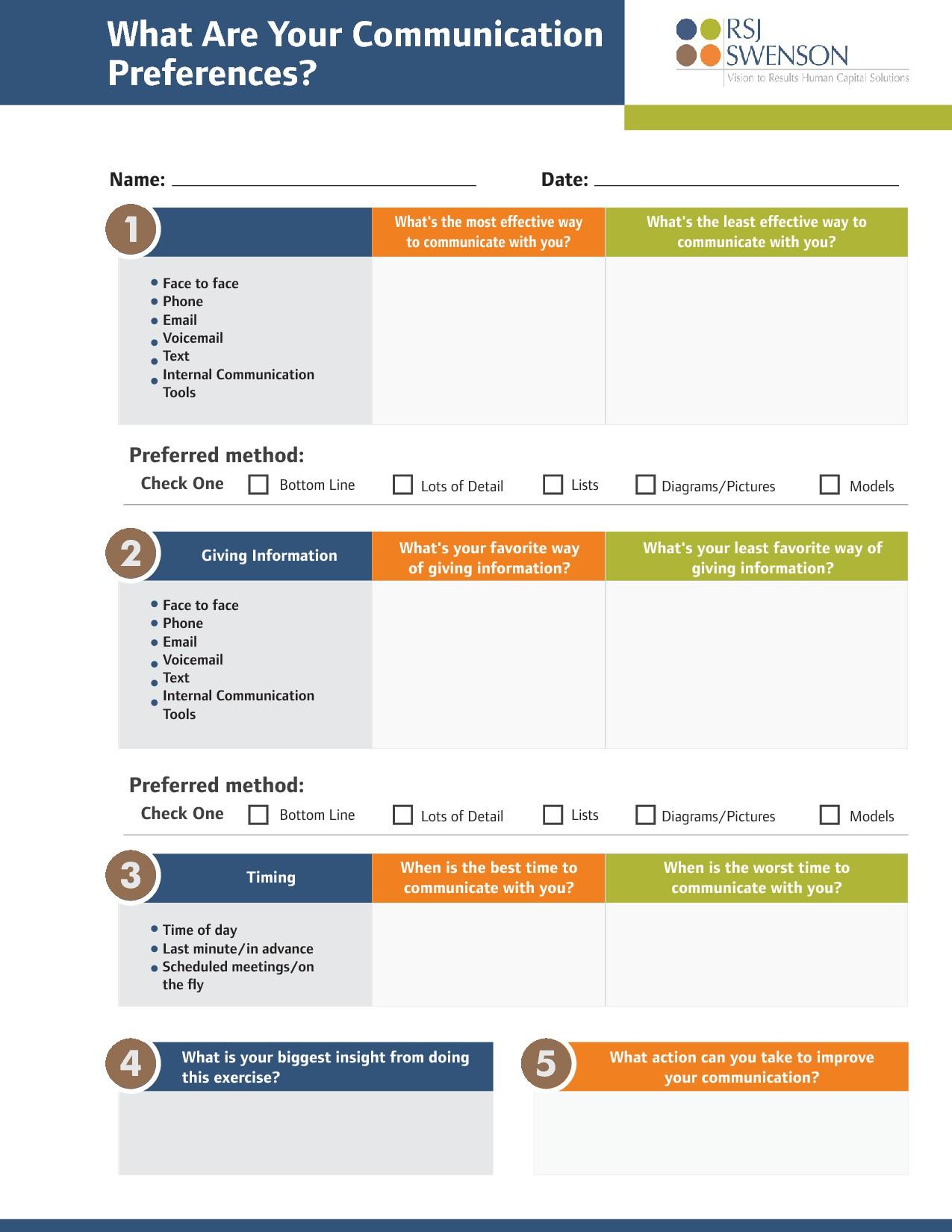 Communication Preference Worksheet