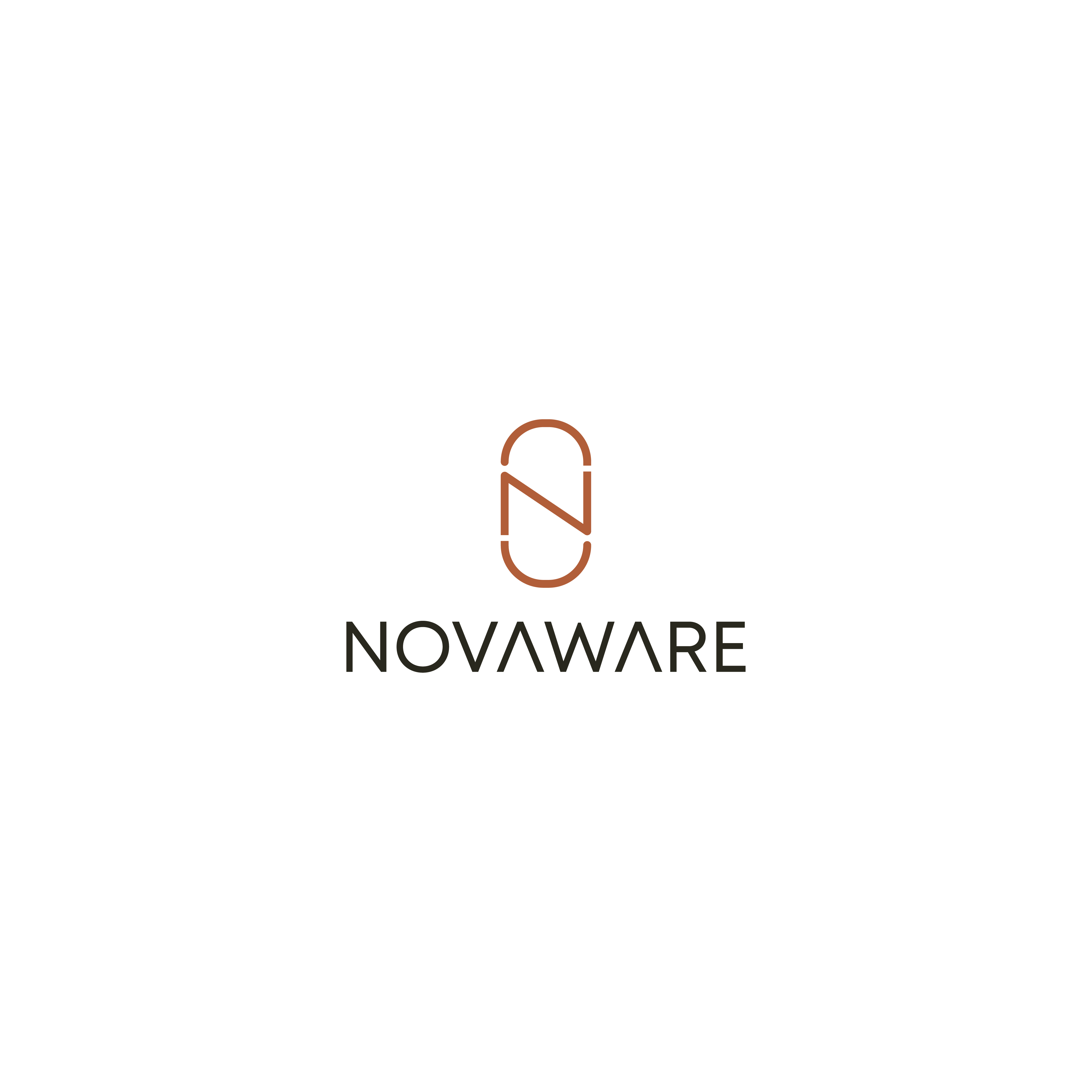 "Bold abstract logo with wordmark. ""NOVAWARE"" kitchen product brand - Inspired to be different."
