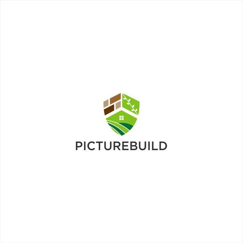 concept idea : brick + shield + leaf + home + field