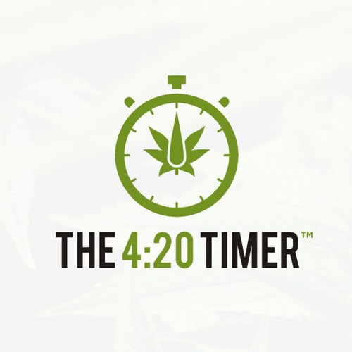 Modern fun Logo for The 4:20 Timer, an app for ios/android aimed at the medical marijuana culture