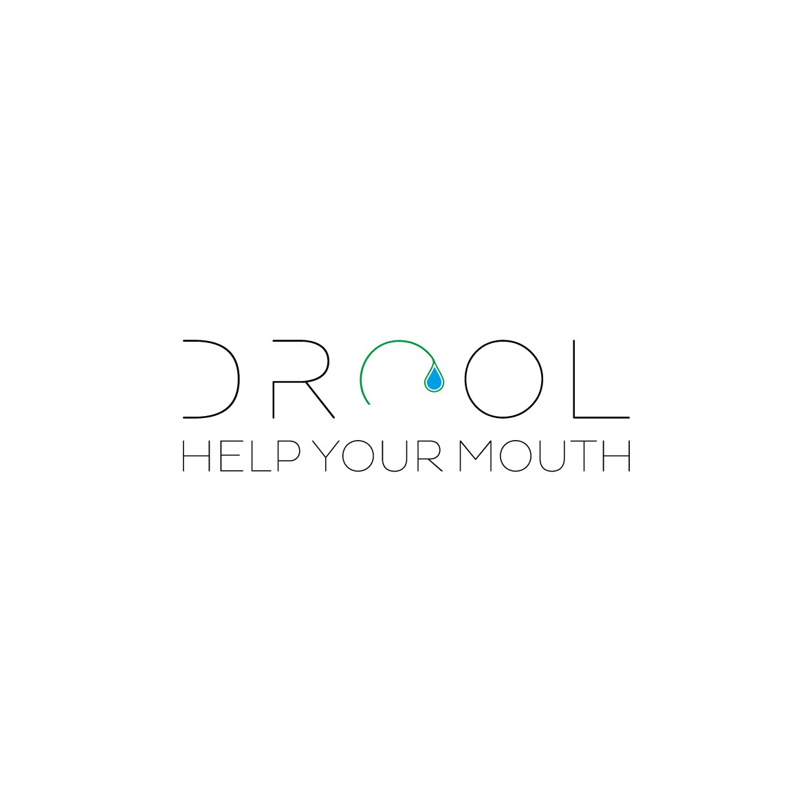 """Temporary relief from dry mouth logo for an herbal lozenge named """"drool""""."""