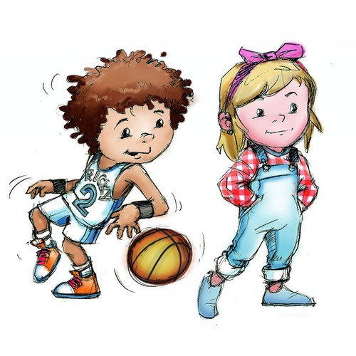 Create a cute boisterous, competitive boy character for a newchildren's book