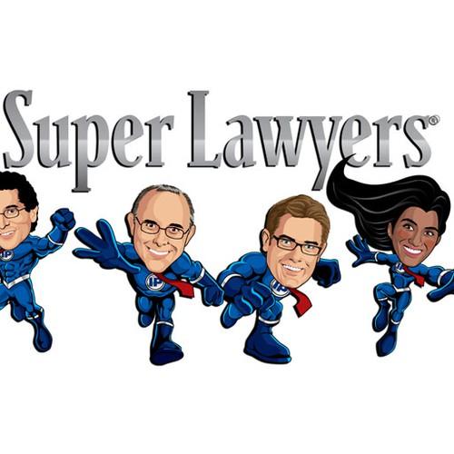 Create a retro/superhero-themed postcard for tech lawyers.